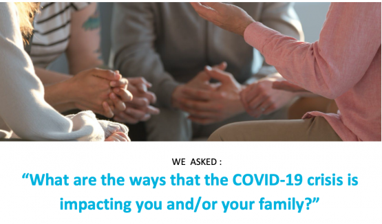 image shows text that reads: What are the ways that the COVID-19 crisis is impacting you and/or your family? ?