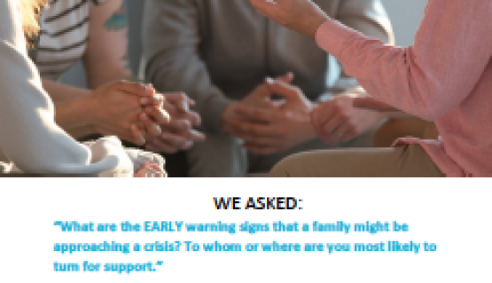 image shows text that reads: What are the EARLY warning signs that a family might be approaching a crisis?