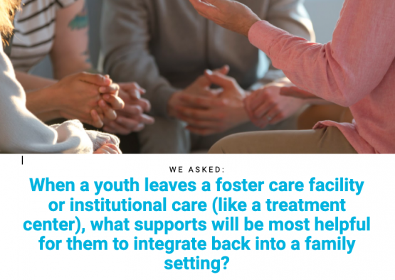"images shows text that reads: ""When a youth leaves a foster care facility or institutional care (like a treatment center), what supports will be most helpful for them to integrate back into a family setting?"