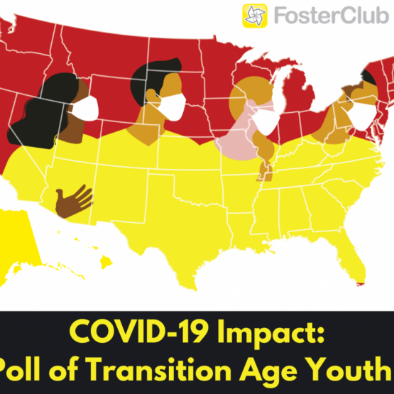 image shows text: COVID-19 Impact:Poll of transition age youth FosterClub logo