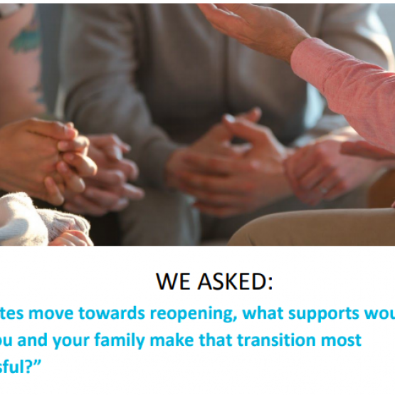 image shows text that reads: transition supports for families during state reopening