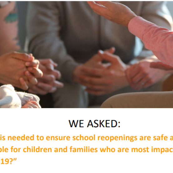 image shows text that reads: safe and equitable school reopening for families